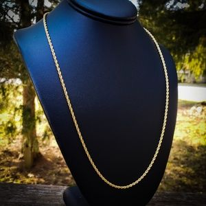 14k Gold Plated Stainless Steel 2mm Rope Chain